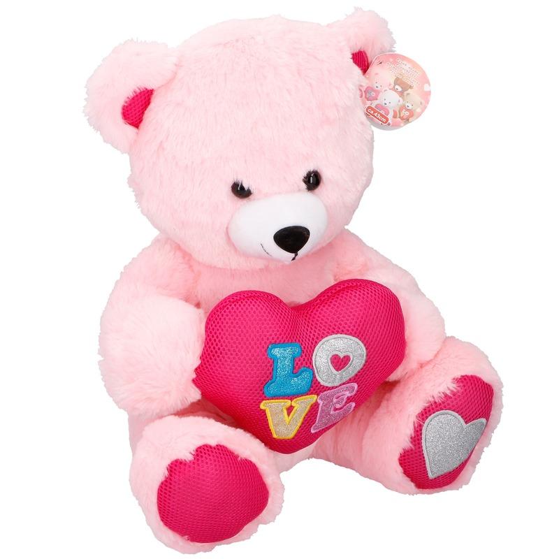 Roze pluche beren knuffel 43 cm met hart