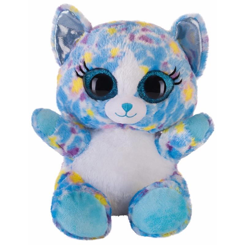 Afbeelding van Speelgoed knuffel blauw katje/poesje 20 cm