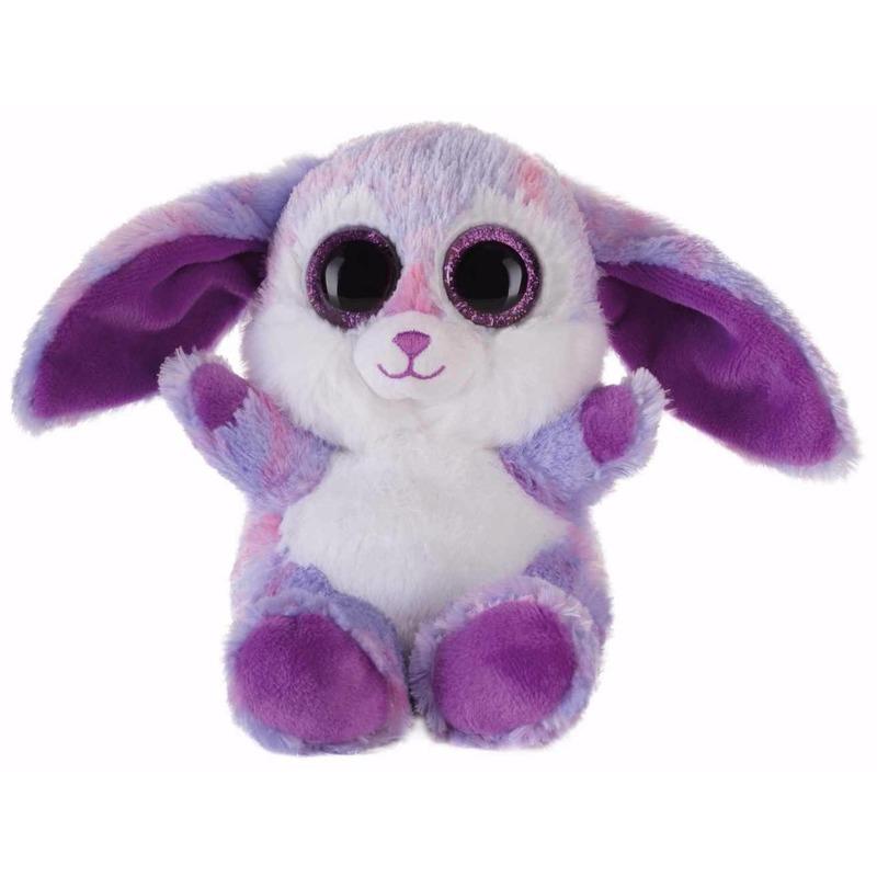 Afbeelding van Speelgoed knuffel paars haasje/konijntje 15 cm