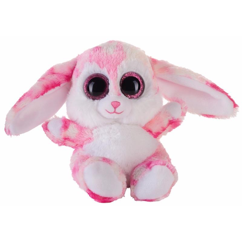 Afbeelding van Speelgoed knuffel roze haasje/konijntje 15 cm
