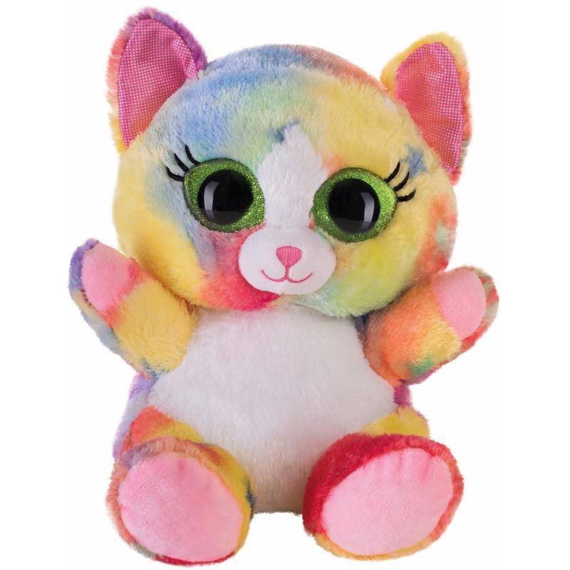 Afbeelding van Speelgoed knuffel roze katje/poesje 20 cm