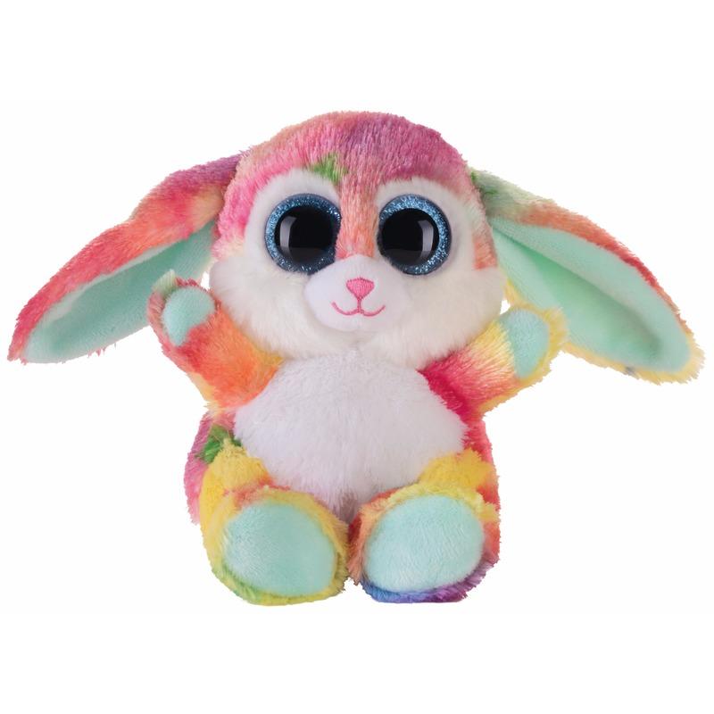 Afbeelding van Speelgoed knuffel turquoise haasje/konijntje 15 cm