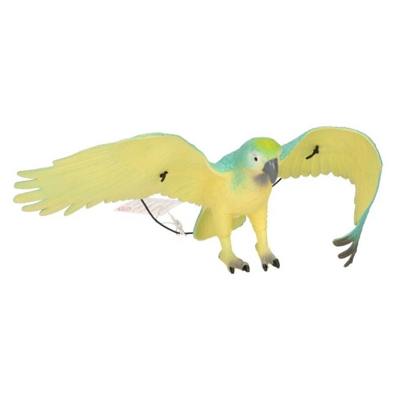 Afbeelding van Speelgoed papegaai blauw zwart 33 cm