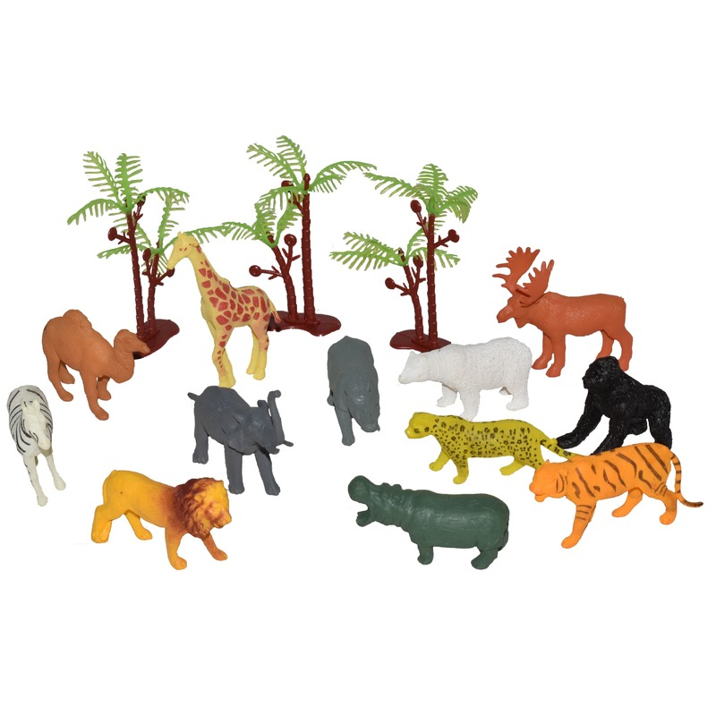 Speelgoed set wilde dieren in emmer