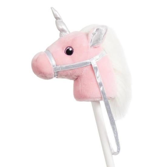 Speelgoed stokpaardje roze eenhoorn met geluid 94 cm