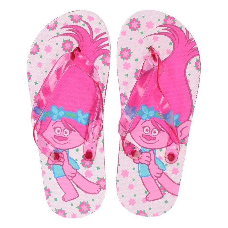 Trolls kinder slippers wit-roze