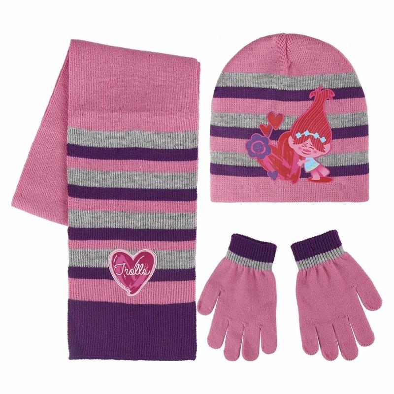 Trolls Poppy handschoenen-sjaal-muts voor kinderen