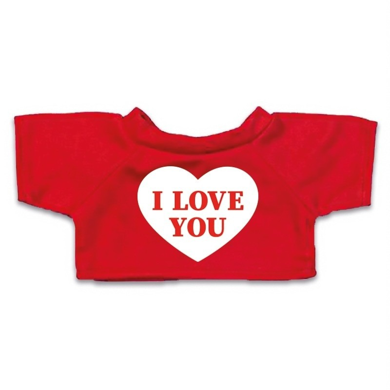 Valentijn Knuffel kleding I love you hartje t-shirt rood M voor Clothies k
