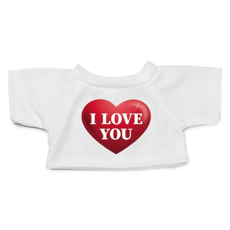 Valentijn Knuffel kleding I love you hartje t-shirt wit M voor Clothies k
