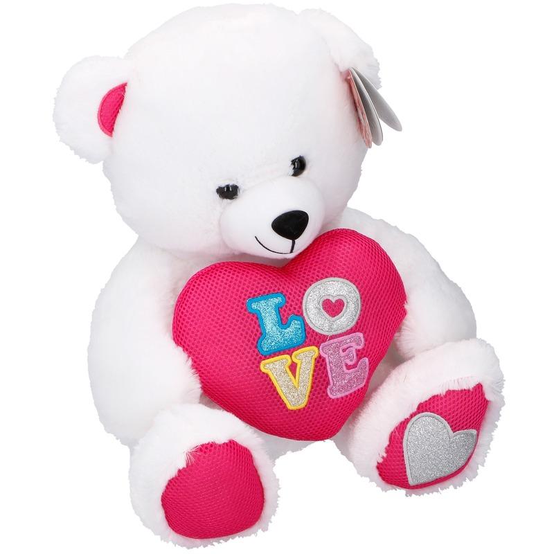 Witte pluche beren knuffel 43 cm met hart