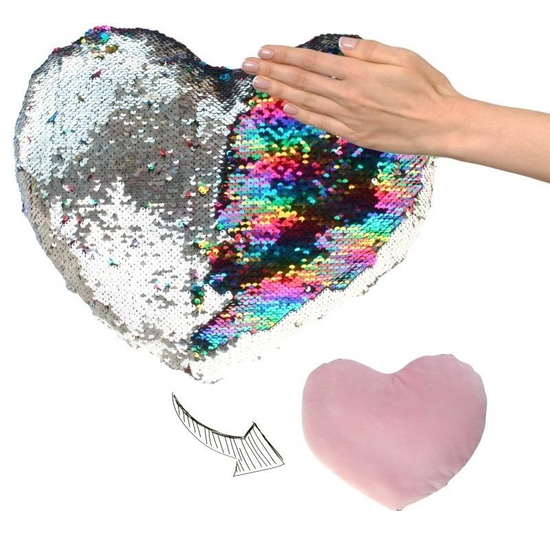 Woondecoratie hartjes kussens zilver-roze metallic met pailletten 30 cm