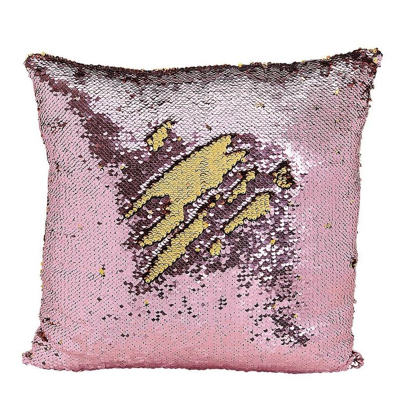 Woondecoratie kussens roze-goud metallic met pailletten 40 cm