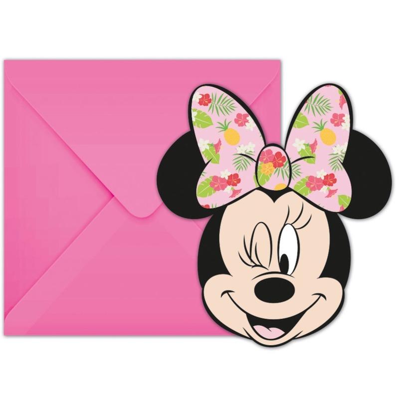 6x Disney Minnie Mouse feestartikelen uitnodigingen 11 cm papier-karton