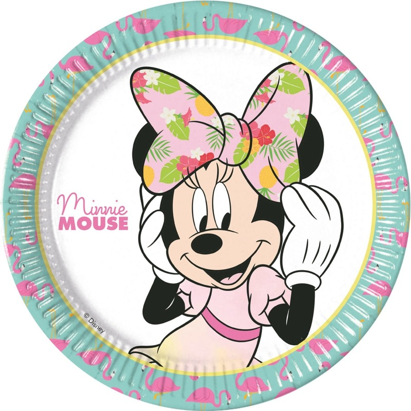 8x Minnie Mouse feestartikelen borden 23 cm papier-karton
